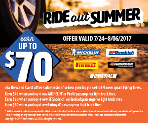 Ride Out Summer! Save $50 - $70  on a New Set of Tires.