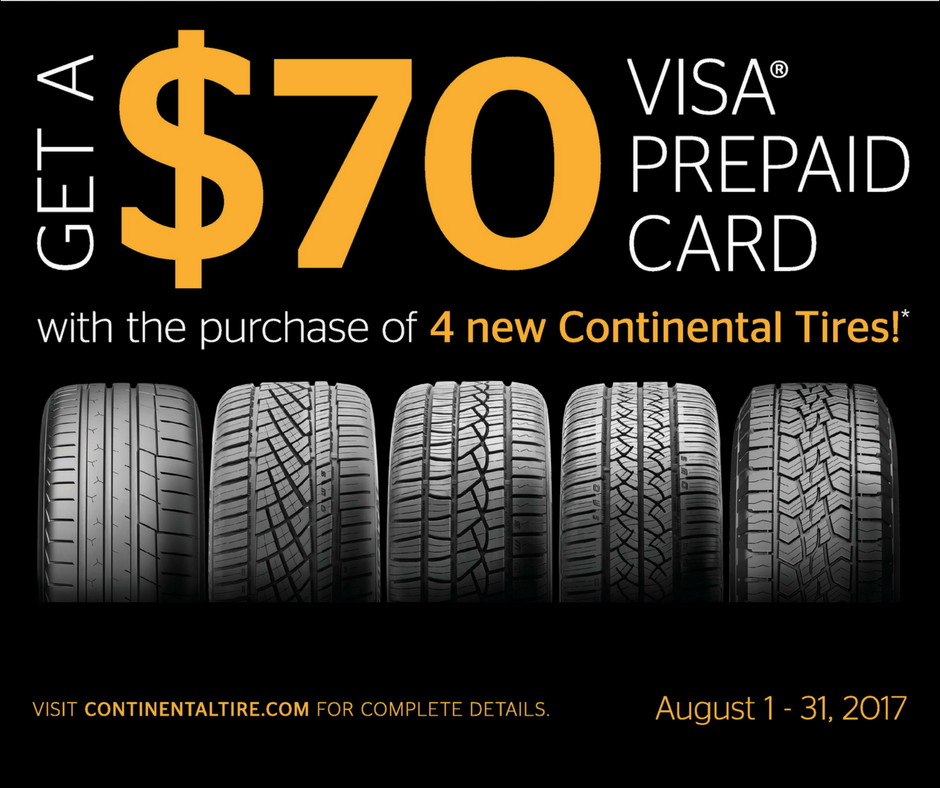 Buy 4 Continental tires and get a $70 Visa prepaid card by mail.